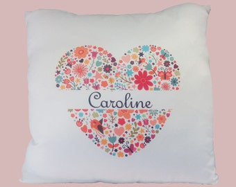 Custom cushion heart flower
