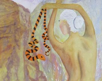Watercolor Original Rectangular Portrait Woman Snake Orange Brown Green