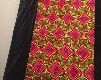 Pink and Brown Fan African Print Fabric