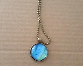 Ocean Inspired Glass Pendant Necklace