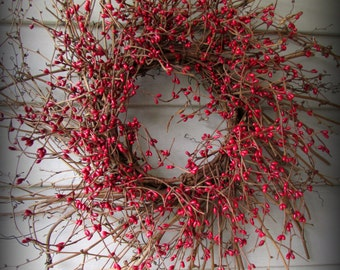 """Red Pip Berry Wreath - 18"""" Twig Base - New"""
