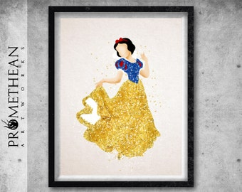 Snow White inspired watercolour and sparkles effect print - 3 FOR 2