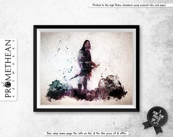 Lord of the Rings inspired Aragorn watercolour / watercolor abstract effect print - 3 FOR 2
