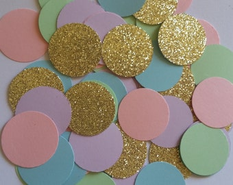 Pastel & Gold Confetti,Pastel Gold Birthday Confetti,Pastel Gold Baby Shower Confetti,Pastel Birthday Wedding Confetti,Pastel Party Decor