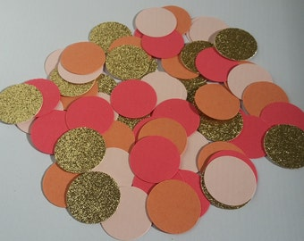peach/coral/gold/pink confetti,peach/coral/gold wedding confetti,bridal confetti,birthday confetti,peach/coral/gold baby shower confetti