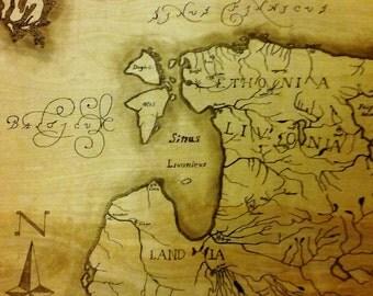 """Custom vintage map on Wood 24""""x24"""""""