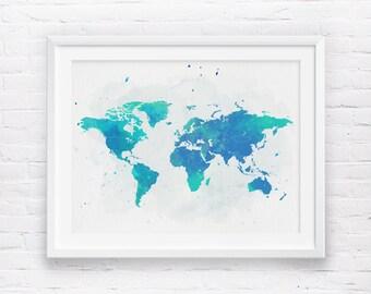 World map wall art etsy world map wall art printable world map wanderlust navy blue mint watercolor world gumiabroncs Gallery