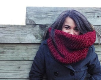Knit Chunky Cowl Scarf- Infinity Cowl- Wine-Made to Order-FREE SHIPPING