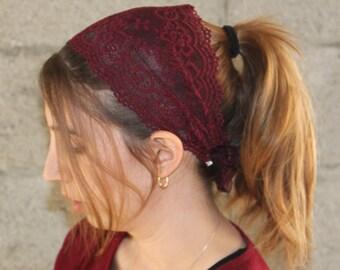 A New Dark Maroon Lace Headband Bandana, Lace Head Scarf,Bohh Headband Bohemian Headwrap 1920s hairband Jewish Half Covering,women fashion