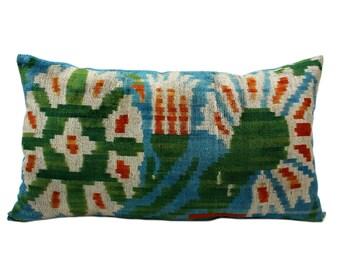 14x24 Uzbek hand-woven ikat pillow cover in silk velvet