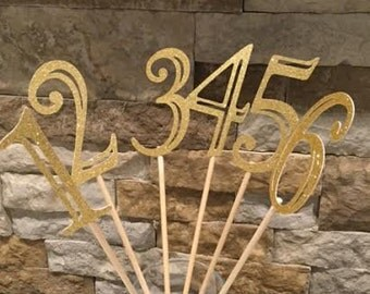 Sparkle Table Numbers- Set of 12