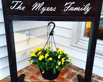 Personalized Plant Stand, Reclaimed Wood Decor, Rustic Plant Stand, Monogrammed, Garden Decor, Mother's Day Gift, Spring Decor, Stained Wood