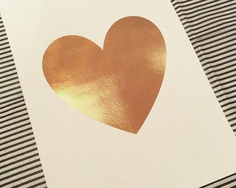 Rose Gold Heart Print! A4 print in Rose Gold