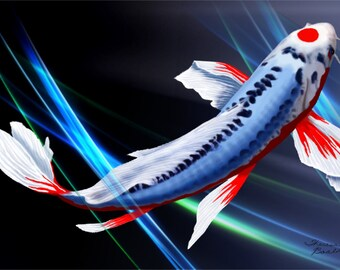 Twilight Koi Fish Tancho Shusui Butterfly Digital Art Giclee Painting Print