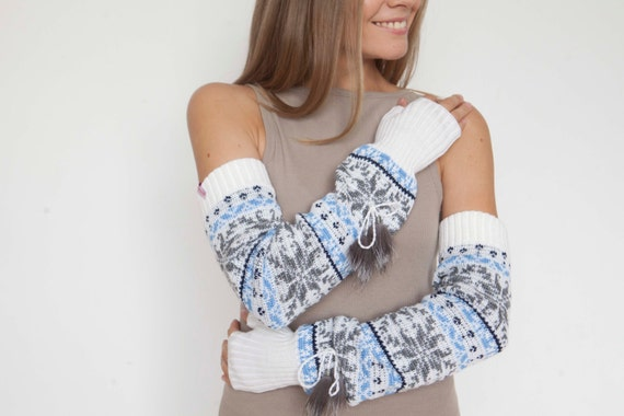 Long arm warmers Norwegian mittens Fingerless Gloves Gauntlets Womens Gloves Wrist Warmers Extra-long arm warmers