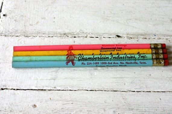 Vintage Pastel Pencil Set - Vintage Pencil - General Store - Mixed Media - Assemblage