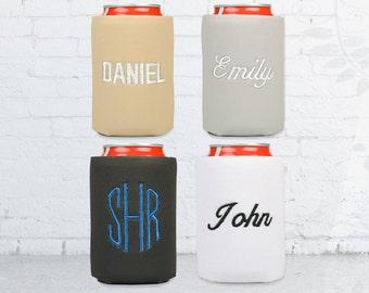 monogrammed personalized can cooler, monogrammed drink koosies