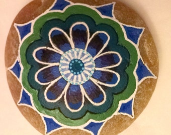 Blue and Green Handpainted Rock Mandala on Stone Painted Stone Painted Rock