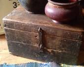 Antique Wooden Chest, Pirate Chest, Farmhouse Antiques, Barnfind, Primitive Decor, Shabby Chic, Cottage Style