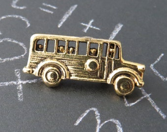 School Bus Pin Brooch 24 karat Gold Plate Bus Driver Gift Kids on the Bus Go Up and Down