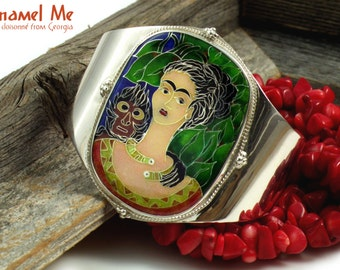 Cloisonne bracelet, Enamel bracelet Frida Kahlo Art Bracelet  Silber bracelet Frida with monkey. Statement bracelet, Sterling cuff, Stunning