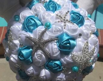 New Starfish Beach Wedding Bridal Crystal Brooch Bouquet Handmade