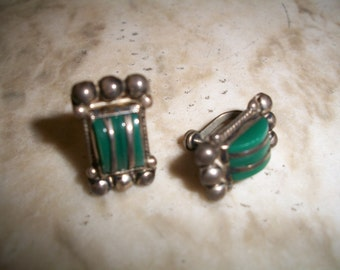 1930's 1940's Mexican Sterling Silver & Mexican Jade  Screw Back Earrings. Excellent Crafting. Marked Silver Mexico.