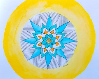 "Original 8"" x 8"" Mandala #201 of 365: Centering"