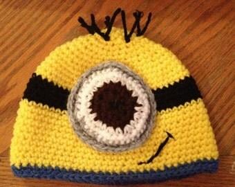 Handmade crochet minion hat