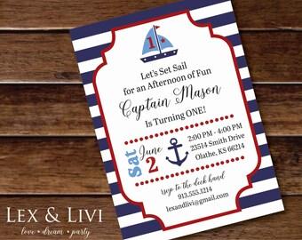 Nautical Birthday Invitation - Sail boat Invitation - Nautical Printable - Boy Birthday - First Birthday