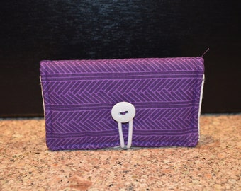 Purple with White Interior - Handmade Wallet / Business Card Holder / Gift Card Holder (SEs3)