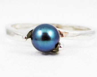 Black Pearl Ring 925 Swirl Sterling Silver, June Birthstone Ring, Black Pearl Ring, Natural Freshwater Pearl Ring, SS Ring, 925 Ring