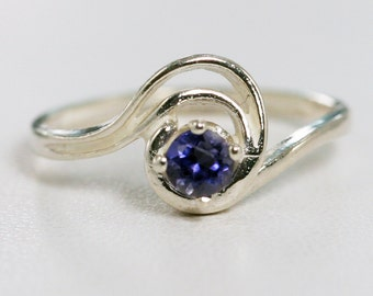 READY TO SHIP Size 7 - Iolite Swirl Ring Sterling Silver, Sterling Swirl Ring, Iolite Solitaire Ring, Water Sapphire Ring