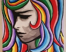 Acrylic abstract pop art painting on stretched canvas colourful vibrant colours portrait rainbow hair woman lady 30×40×2cm free UK shipping
