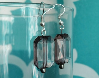Smoky Grey Faceted Beads Dangle Fish Hook Earrings