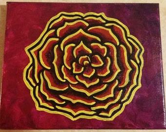 Yellow & Magenta Rose 8x10 Acrylic Painting