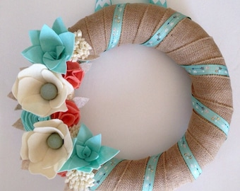 Felt Flower Wreath  • Burlap wreath • Burlap wreath with felt flowers • Custom wreath