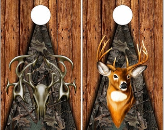 Tribal Buck Skull Wood Camo LAMINATED Cornhole Wrap Bag Toss Decal Baggo Skin Sticker Wraps