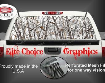 Snow Camo Rear Window Graphic Tint Decal Sticker Truck SUV Van Car
