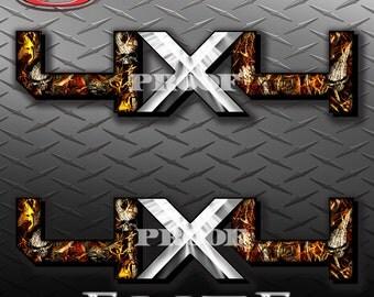 4x4 Hard Edge Obliteration Skull Blaze Camo Camouflage Truck Bed Vinyl Decal Sticker - PAIR