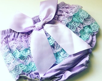 Mermaid style ruffle lace bloomers, baby girls, bloomers