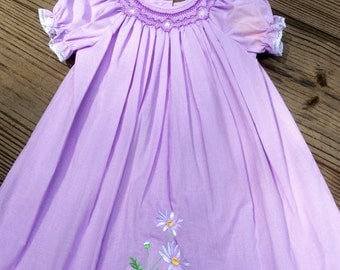 Baby Girls Hand Smocked Lavender Bishop Dress With Embroidered White Flowers
