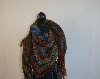 shawl in warm earth tones