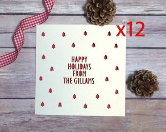Personalised Holiday Cards, Holiday Card Multipack, Happy Holidays, Custom Holiday Card, Lasercut Card, Holidays with the, Papercut