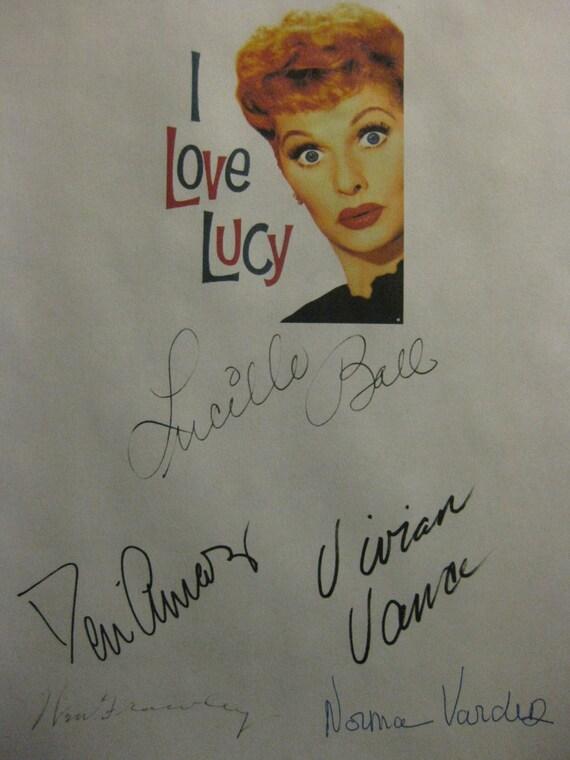 I Love Lucy Signed TV Script Screenplay X5 Autograph Lucille Ball Desi Arnaz Vivian Vance William Frawley Norma Varden signature Classic
