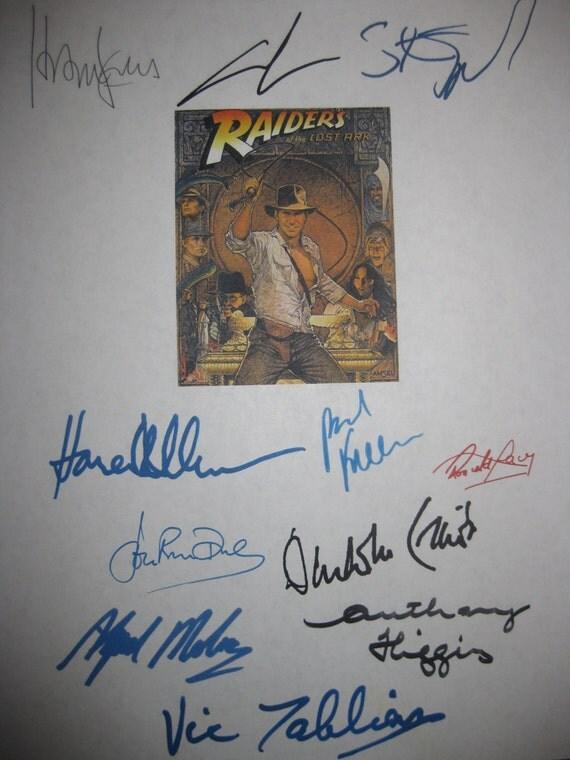 Indiana Jones Raiders of the Lost Ark screenplay signed script X11 autograph Harrison Ford Karen Allen Steven Spielberg Lucas Rhys-Davies