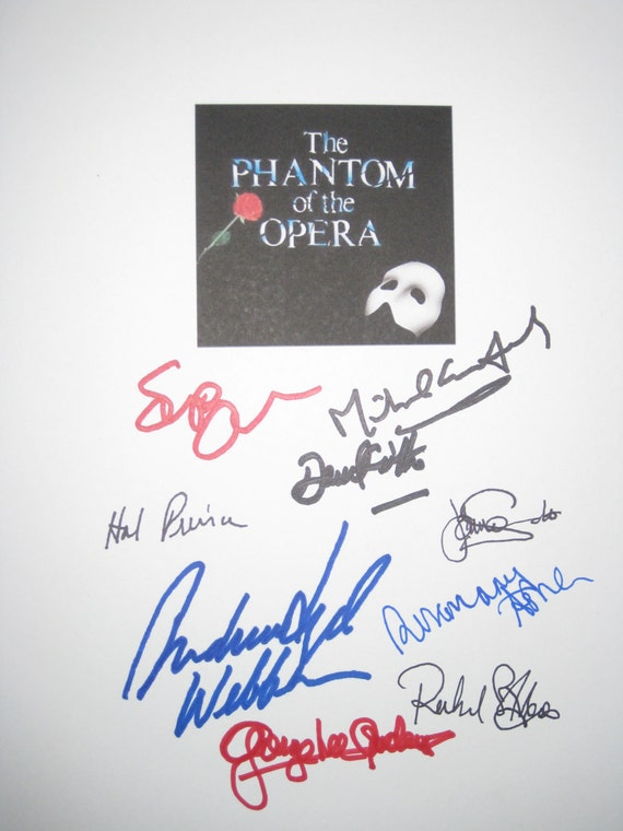 The Phantom of the Opera Musical Broadway Signed Script X9 Andrew Lloyd Webber Michael Crawford Sarah Brightman Richard Stilgoe Hal Prince