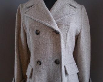 Vintage Double Breasted Herringbone Wool Coat