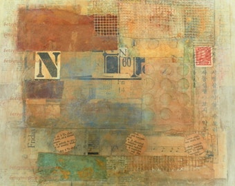 N mixed media collage