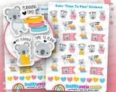 24 Cute Koko the Koala 'Time to Plan' Planner Stickers, Filofax, Erin Condren, Happy Planner, Kawaii, Cute Sticker, UK